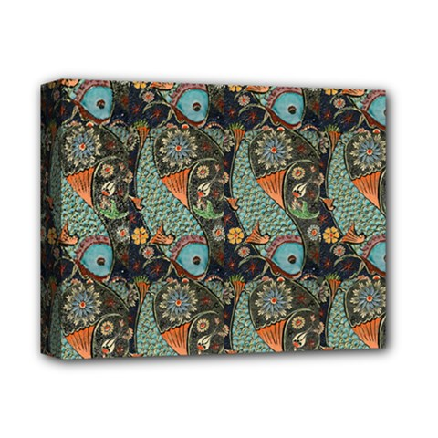 Pattern Background Fish Wallpaper Deluxe Canvas 14  X 11  by Celenk