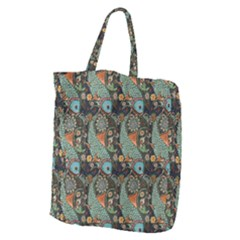 Pattern Background Fish Wallpaper Giant Grocery Zipper Tote by Celenk