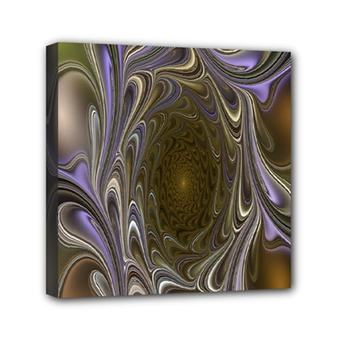 Fractal Waves Whirls Modern Mini Canvas 6  X 6  by Celenk
