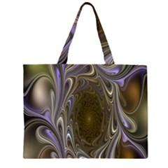 Fractal Waves Whirls Modern Zipper Large Tote Bag by Celenk