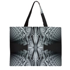 Fractal Blue Lace Texture Pattern Zipper Large Tote Bag by Celenk