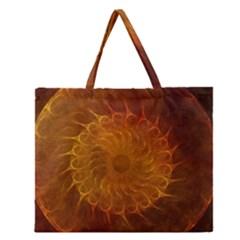 Orange Warm Hues Fractal Chaos Zipper Large Tote Bag by Celenk
