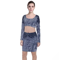 Abstract Art Decoration Design Long Sleeve Crop Top & Bodycon Skirt Set
