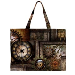 Steampunk, Wonderful Clockwork With Gears Zipper Large Tote Bag by FantasyWorld7