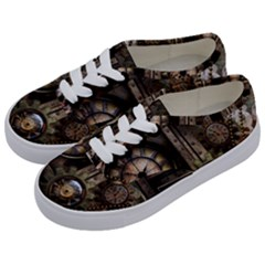 Steampunk, Wonderful Clockwork With Gears Kids  Classic Low Top Sneakers by FantasyWorld7
