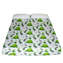 Watercolor Christmas Tree Fitted Sheet (king Size) by patternstudio
