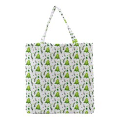 Watercolor Christmas Tree Grocery Tote Bag by patternstudio