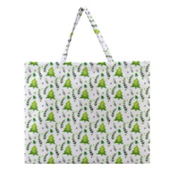 Watercolor Christmas Tree Zipper Large Tote Bag by patternstudio