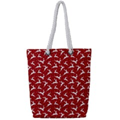 Red Reindeers Full Print Rope Handle Bag (small) by patternstudio
