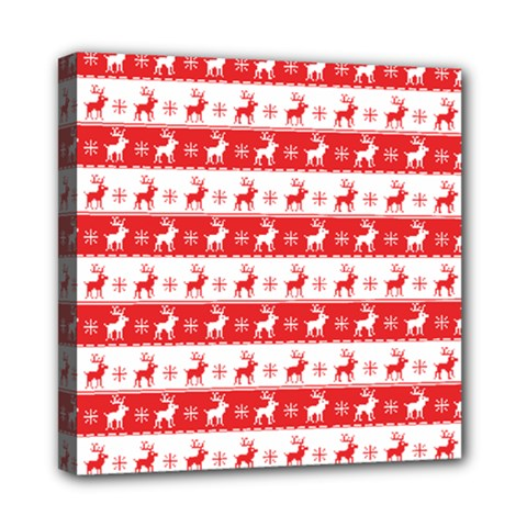 Knitted Red White Reindeers Mini Canvas 8  X 8  by patternstudio