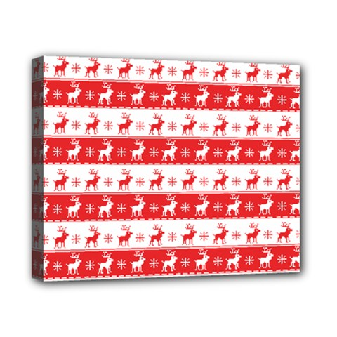Knitted Red White Reindeers Canvas 10  X 8  by patternstudio