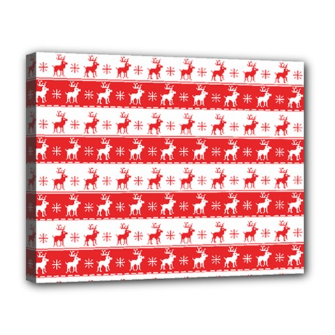 Knitted Red White Reindeers Canvas 14  X 11  by patternstudio