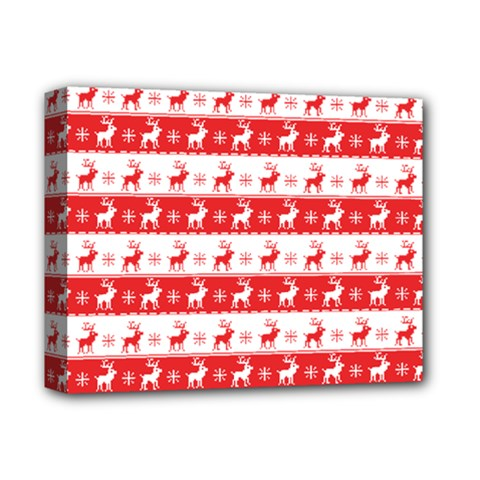 Knitted Red White Reindeers Deluxe Canvas 14  X 11  by patternstudio