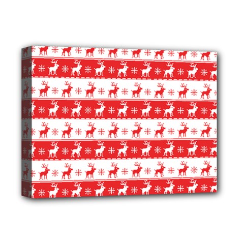 Knitted Red White Reindeers Deluxe Canvas 16  X 12   by patternstudio