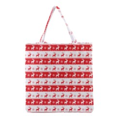 Knitted Red White Reindeers Grocery Tote Bag by patternstudio