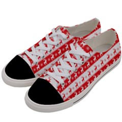 Knitted Red White Reindeers Women s Low Top Canvas Sneakers by patternstudio