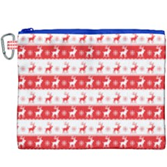 Knitted Red White Reindeers Canvas Cosmetic Bag (xxxl) by patternstudio