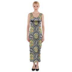 Beveled Geometric Pattern Fitted Maxi Dress by linceazul
