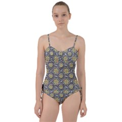 Beveled Geometric Pattern Sweetheart Tankini Set