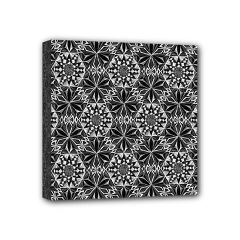 Crystals Pattern Black White Mini Canvas 4  X 4  by Cveti
