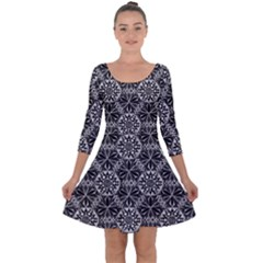Crystals Pattern Black White Quarter Sleeve Skater Dress