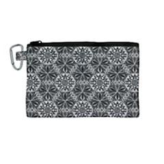 Crystals Pattern Black White Canvas Cosmetic Bag (medium) by Cveti