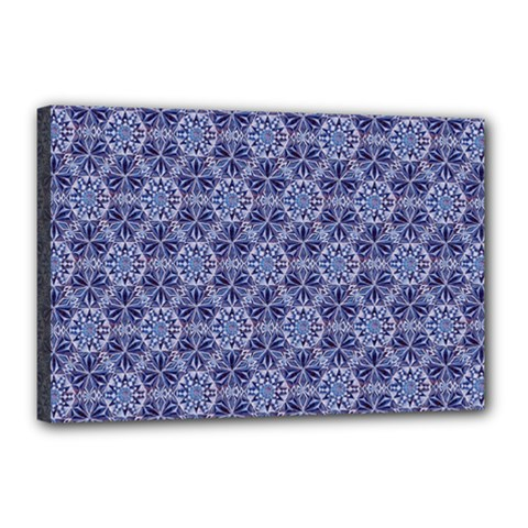 Crystals Pattern Blue Canvas 18  X 12  by Cveti