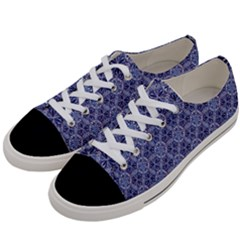 Crystals Pattern Blue Women s Low Top Canvas Sneakers by Cveti