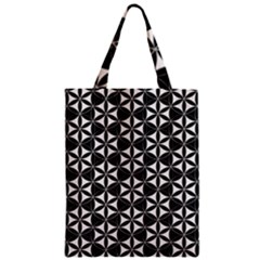 Flower Of Life Pattern Black White Zipper Classic Tote Bag