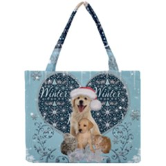 It s Winter And Christmas Time, Cute Kitten And Dogs Mini Tote Bag by FantasyWorld7