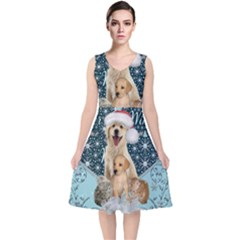 It s Winter And Christmas Time, Cute Kitten And Dogs V Neck Midi Sleeveless Dress  by FantasyWorld7
