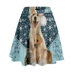It s Winter And Christmas Time, Cute Kitten And Dogs High Waist Skirt by FantasyWorld7