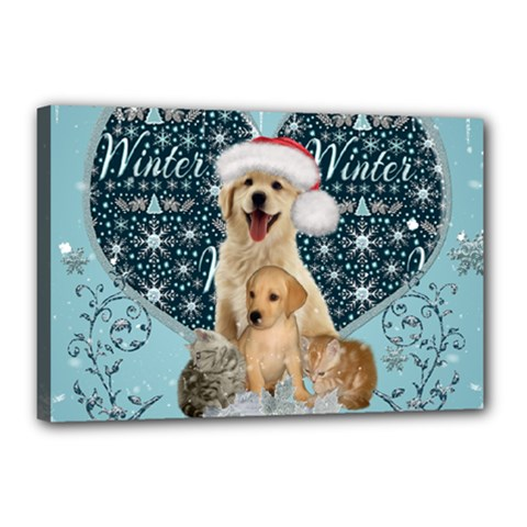 It s Winter And Christmas Time, Cute Kitten And Dogs Canvas 18  X 12  by FantasyWorld7