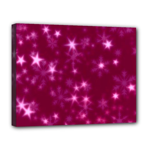 Blurry Stars Pink Canvas 14  X 11  by MoreColorsinLife
