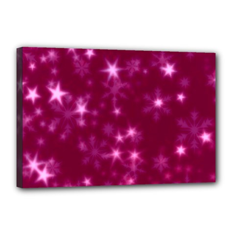 Blurry Stars Pink Canvas 18  X 12  by MoreColorsinLife