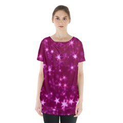 Blurry Stars Pink Skirt Hem Sports Top by MoreColorsinLife