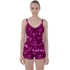 Blurry Stars Pink Tie Front Two Piece Tankini