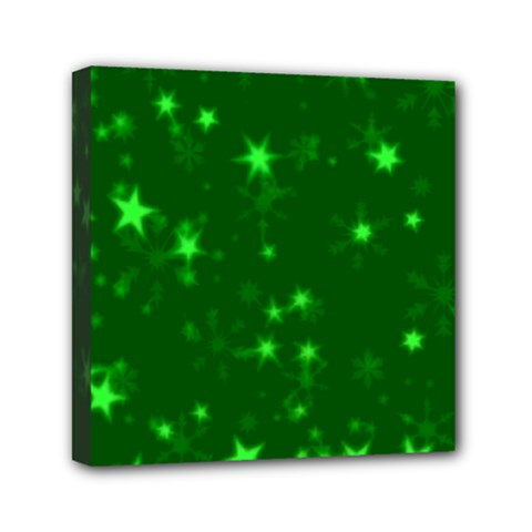 Blurry Stars Green Mini Canvas 6  X 6  by MoreColorsinLife