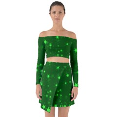 Blurry Stars Green Off Shoulder Top With Skirt Set