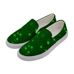 Blurry Stars Green Women s Canvas Slip Ons by MoreColorsinLife
