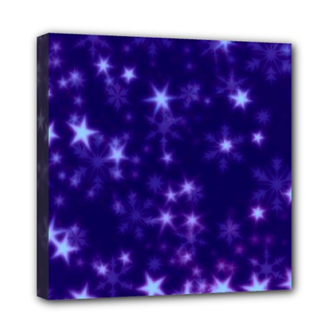 Blurry Stars Blue Mini Canvas 8  X 8  by MoreColorsinLife