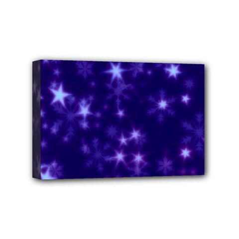 Blurry Stars Blue Mini Canvas 6  X 4  by MoreColorsinLife