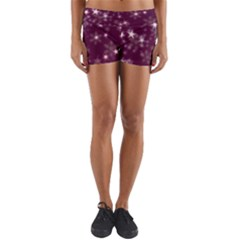 Blurry Stars Plum Yoga Shorts by MoreColorsinLife