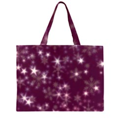Blurry Stars Plum Zipper Large Tote Bag by MoreColorsinLife