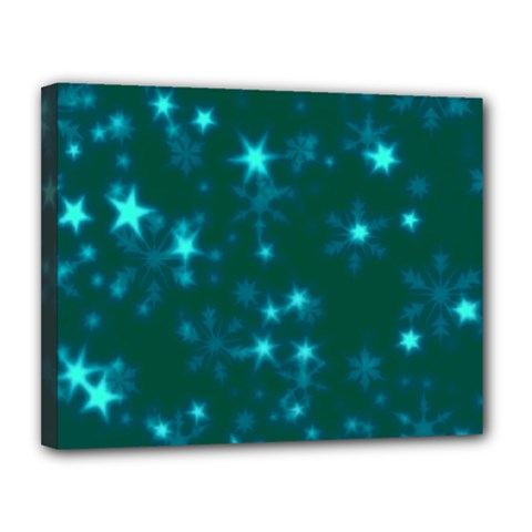 Blurry Stars Teal Canvas 14  X 11  by MoreColorsinLife