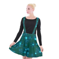 Blurry Stars Teal Suspender Skater Skirt