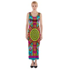 Sunny And Bohemian Sun Shines In Colors Fitted Maxi Dress by pepitasart