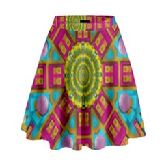 Sunny And Bohemian Sun Shines In Colors High Waist Skirt by pepitasart