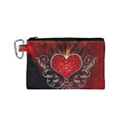 Wonderful Heart With Wings, Decorative Floral Elements Canvas Cosmetic Bag (small)
