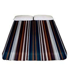 Pear Blossom Teal Orange Brown Coordinating Stripes  Fitted Sheet (king Size) by ssmccurdydesigns